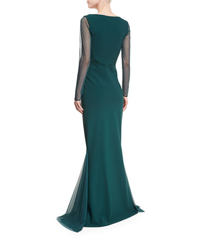 Babs Sheer Long-Sleeve Mermaid Gown