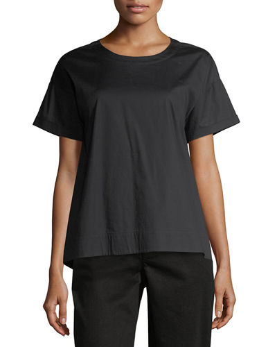 Eileen Fisher Boxy Round-Neck Stretch-Cotton Lawn Shirt, Petite