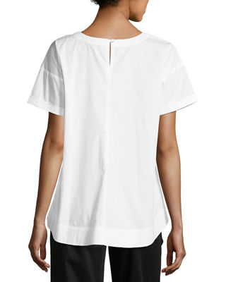 Boxy Round-Neck Stretch-Cotton Lawn Shirt
