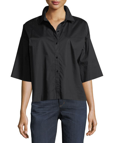 Eileen Fisher Boxy Button-Front Stretch-Cotton Lawn Shirt