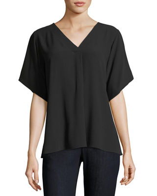 Eileen Fisher Short-Sleeve V-Neck Crepe Blouse