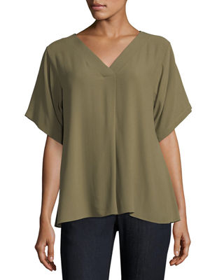 Eileen Fisher Short-Sleeve V-Neck Crepe Blouse, Petite