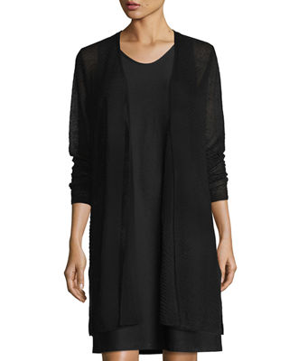 Eileen Fisher Sheer Long Cardigan w/ Side Slits