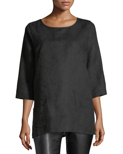 Petite Modern Faux-Suede Two-Pocket Tunic