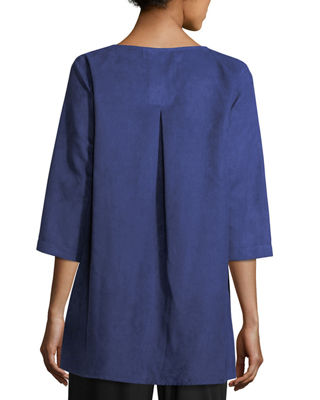 Image 2 of 3: Modern Faux-Suede Two-Pocket Tunic, Petite