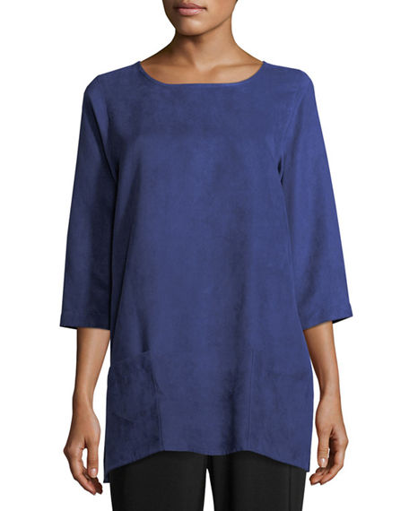 Caroline Rose Petite Modern Faux-Suede Two-Pocket Tunic