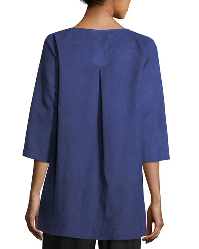 Modern Faux-Suede Two-Pocket Tunic