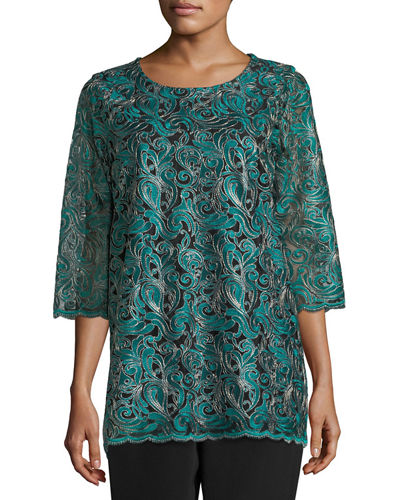Caroline Rose Lux Embroidered Tunic, Plus Size and