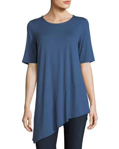 Short-Sleeve Lightweight Viscose Jersey Asymmetric Hem Top