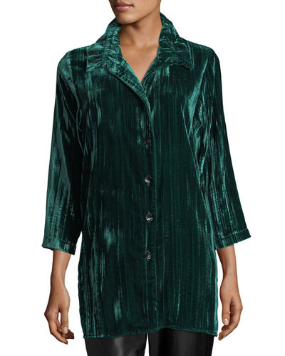 Long Crinkled Velvet Shirt, Plus Size