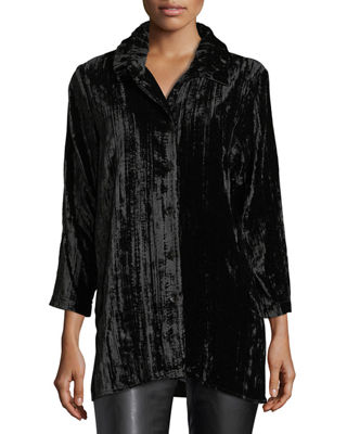 Caroline Rose Long Crinkled Velvet Shirt, Petite