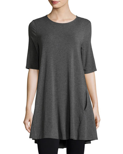 Eileen Fisher Half-Sleeve Jersey Tunic, Petite and Matching