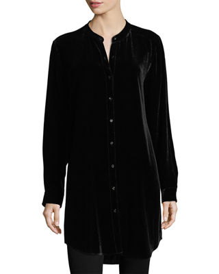 Eileen Fisher Long Washable Velvet Tunic Top and