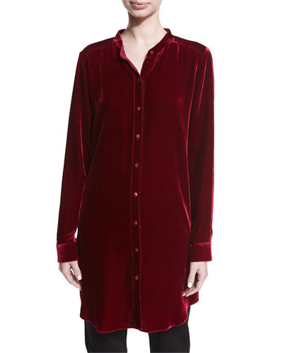 Long Washable Velvet Tunic Top