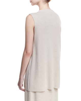 Mock-Neck Sleeveless Washable Crepe Tunic, Petite