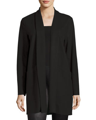 Eileen Fisher Boiled Wool Jersey Long Jacket, Petite