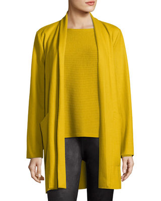 Boiled Wool Jersey Long Jacket, Plus Size