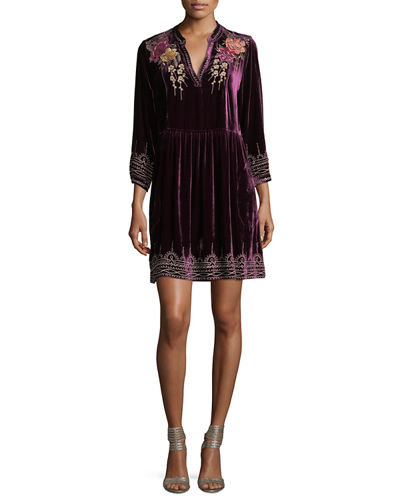 Flores 3/4-Sleeve Boho Velvet Dress w/ Floral Embroidery, Plus Sze