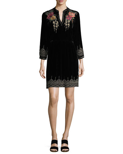 Flores 3/4-Sleeve Boho Velvet Dress w/ Floral Embroidery, Petite