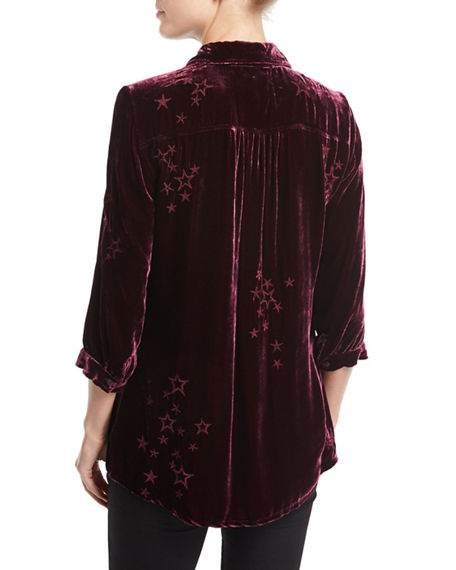 Image 2 of 2: Johnny Was Roberta Velvet Smocked Blouse