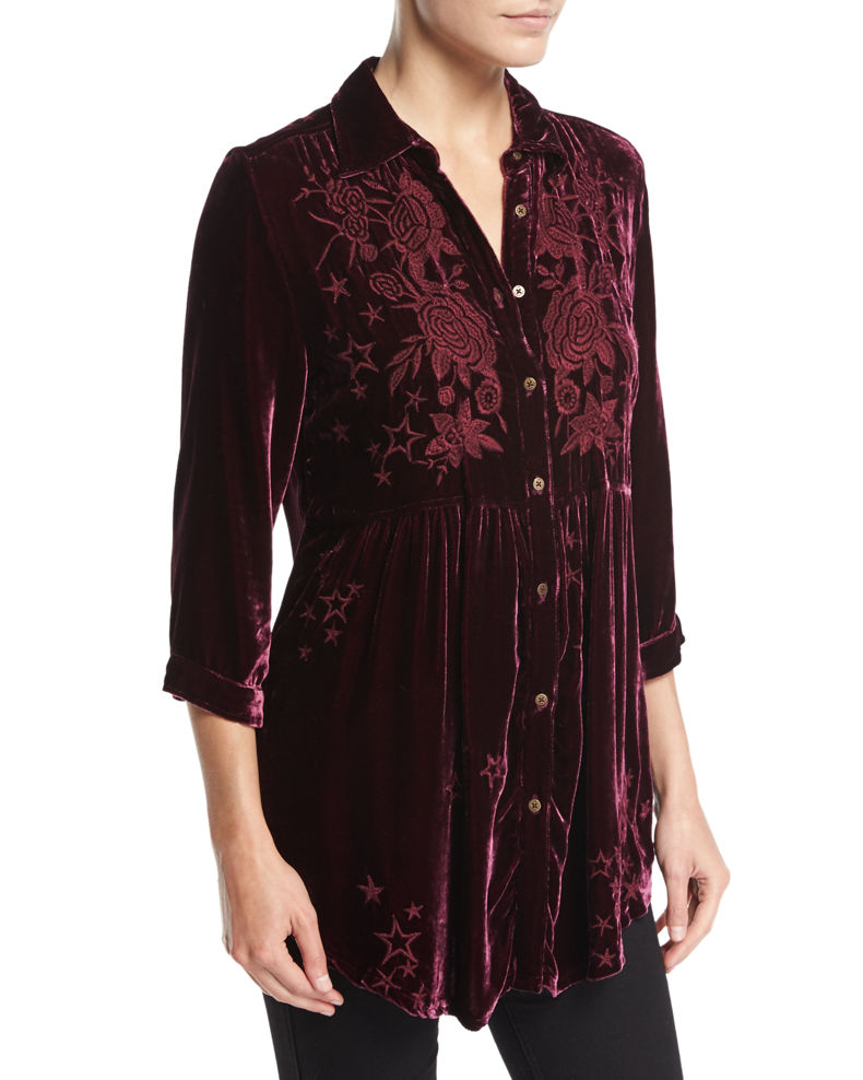 Johnny Was Roberta Velvet Smocked Blouse