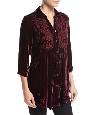 Roberta Velvet Smocked Blouse, Plus Size