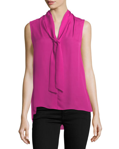 Catharina Sleeveless Tie-Neck Silk Blouse