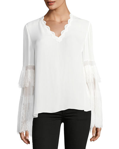Steph Lacy Bell-Sleeve Silk Blouse