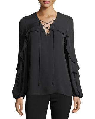 Corrie Long-Sleeve Lace-Up Silk Blouse