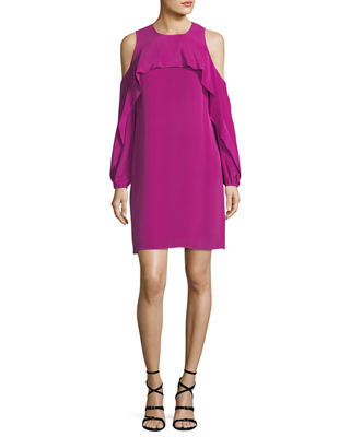 Kobi Halperin Raina Cold-Shoulder Silk Popover Dress