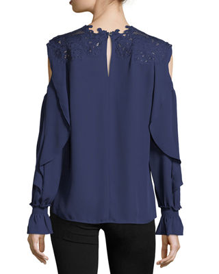 Davina Long-Sleeve Crochet-Yoke Silk Blouse
