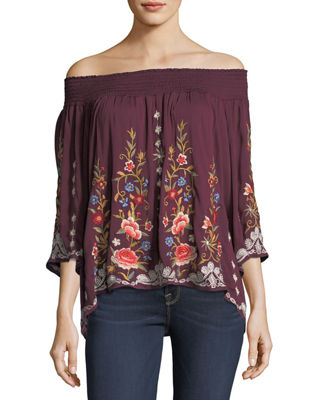 Johnny Was Harlith Embroidered Off-the-Shoulder Top, Plus Size