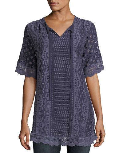 Johnny Was Tumi Lace-Trim Embroidered Eyelet Top, Plus