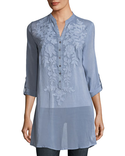 Allie Sheer Georgette Blouse w/ Floral Appliqué, Plus Size