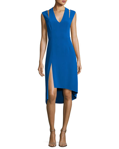 Halston Heritage Sleeveless Stretch Crepe Cocktail Dress