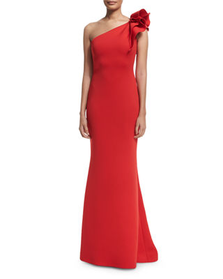 Jovani One-Shoulder Ruffle-Trim Mermaid Gown