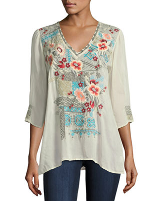 Johnny Was Freyja Embroidered 3/4-Sleeve Blouse