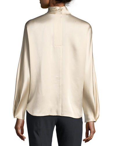 Mock-Neck Long-Sleeve Satin Blouse