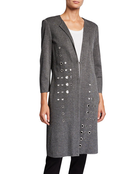 Image 1 of 3: Misook Plus Size Grommet Long 3/4-Sleeve Jacket