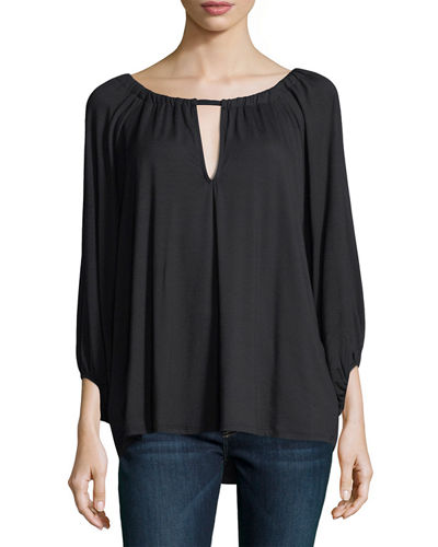 Kristine 3/4-Sleeve Keyhole-Front Top