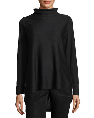 Eileen Fisher Sleek Scrunch-Neck Knit Top