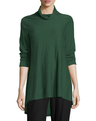 Eileen Fisher Sleek Scrunch-Neck Knit Top, Petite
