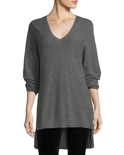 Long-Sleeve V-Neck High-Low Wool Top