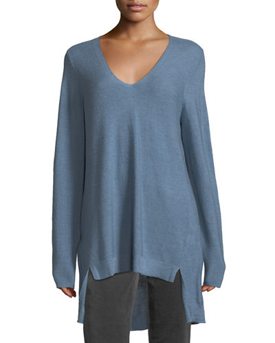 Eileen Fisher Long-Sleeve V-Neck High-Low Wool Top