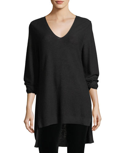 Long-Sleeve V-Neck High-Low Wool Top, Petite