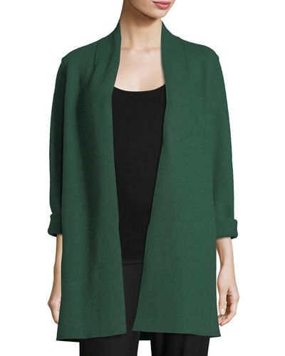 High-Collar Open-Front Boiled Wool Coat, Plus Size