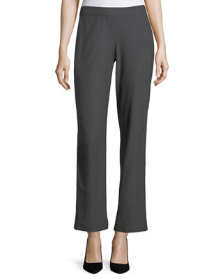Eileen Fisher Washable Stretch-Crepe Straight-Leg Pants with