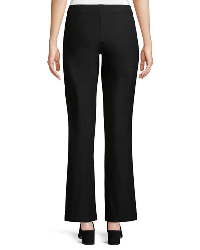 Washable Stretch-Crepe Straight-Leg Pants with Pocket, Petite