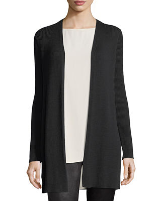 Long Straight Wool Crepe Cardigan