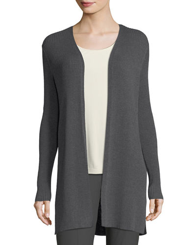Eileen Fisher Long Straight Wool Crepe Cardigan and